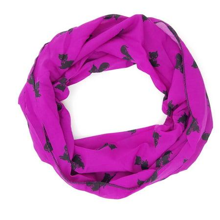 Cut Scarf (Amtal Women Purple & Black Cat Design Lightweight & Soft Infinity Scarf)