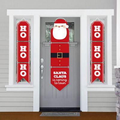 Jolly Santa Claus - Hanging Porch Front Door Signs - Christmas Party Banner Decoration Kit - Outdoor Door Decor ()