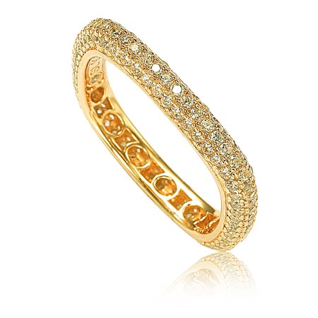 Golden Sterling Silver Cubic Zirconia Modern Pave Square Eternity - Modern Pave