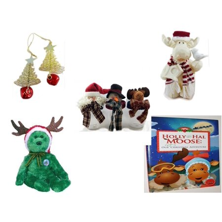 Jingle Moose (Christmas Fun Gift Bundle [5 Piece] - Set of 2 Gold Tree w/ Star Jingle Bell Ornaments - Woodniks
