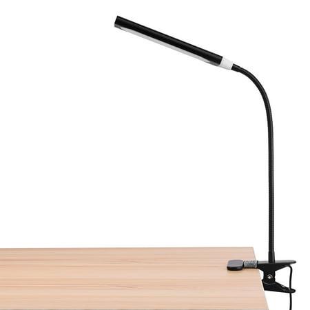 KOOTION LED Desk Lamp, Flexible Gooseneck Lamp, 3 Color Temperatures, 11 Brightness Levels, Clip Light, USB Portable Lamp, Black ()