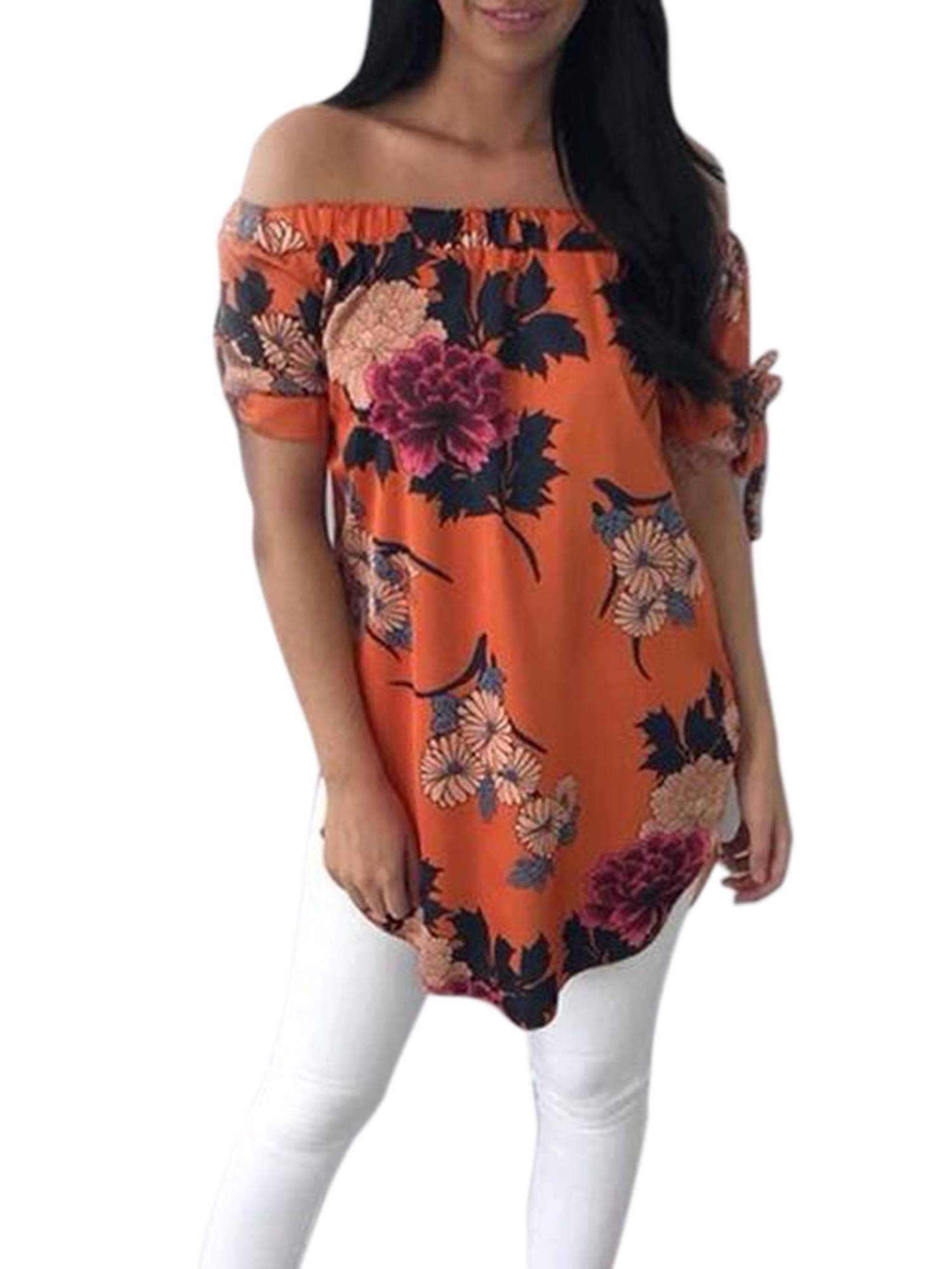 Vintage Short Sleeve Women Off Shoulder Floral Blouse Ladies Casual Baggy Loose Tops T Shirt