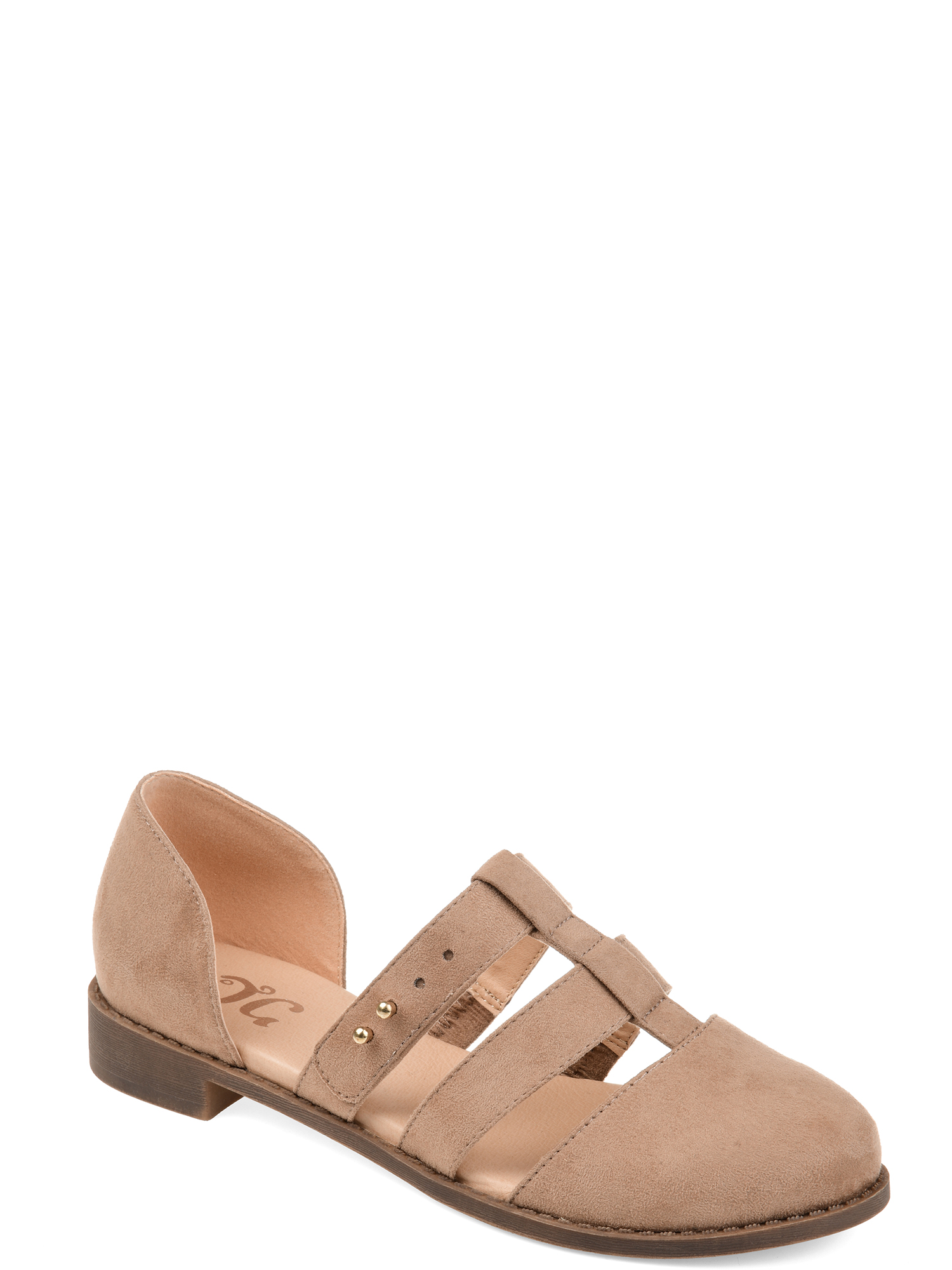 Womens Caged Round Toe Flats