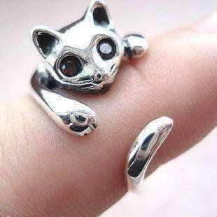 Sweet Kitty Cat Wrap Around Animal Ring Silver (Marc Jacobs Cat Ring)