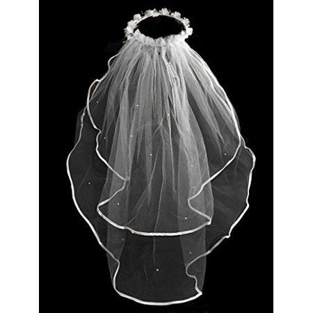 Girls 1st Communion Wedding White Veil 2 Layers Tulle Headpiece - Veil Communion