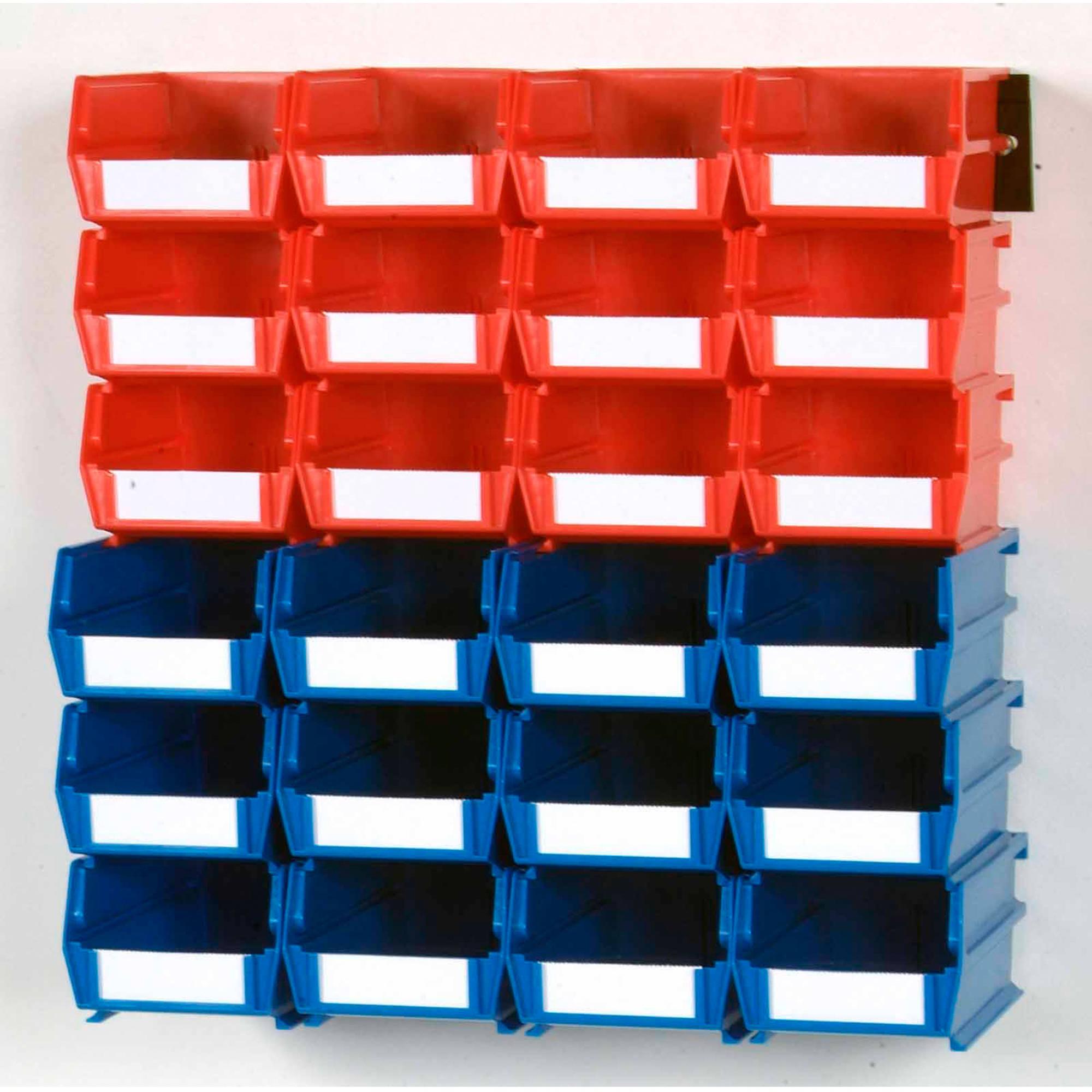 """LocBin 26-Piece Wall Storage Unit with (12) 5-3/8""""L x 4-1/8""""W x 3""""H Red Bins & (12) 7-3/8""""L x 4-1/8""""W x 3""""H Blue Bins, 24ct, Wall Mount Rails 8-3/4""""L with Hardware, 2pk"""