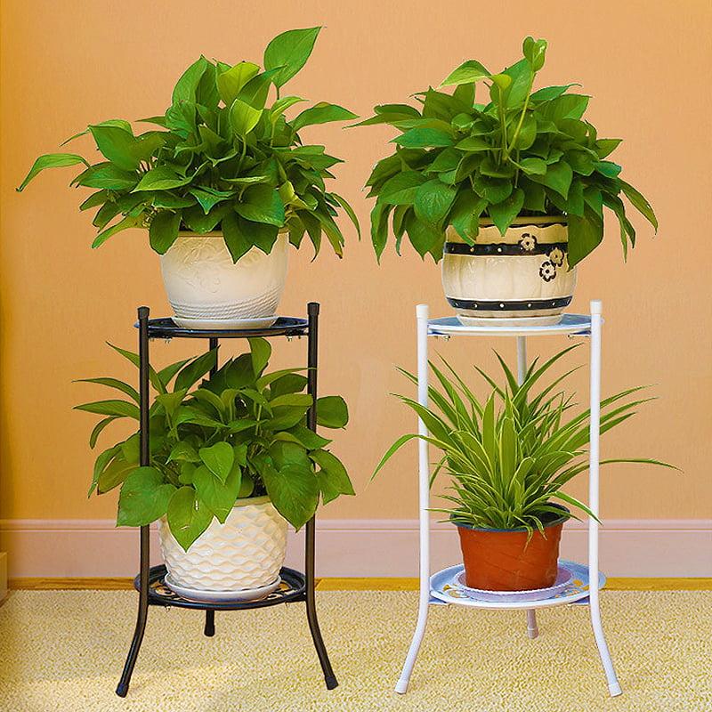 Metal Flower Pot Plant Planter Stand Rack Shelf Home Outdoor Decoration