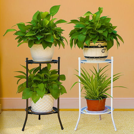 2 Holder Metal Plant Pot Stand Flower Display Shelf Garden Patio Indoor Outdoor Outdoor Shelf Stand