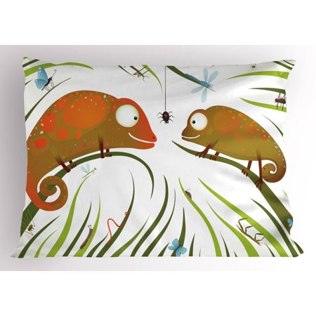 Hungry Animal - Chameleons Pillow Sham Hungry Animals Grass Looking at Spider Insect World Illustration Worm Ladybug, Decorative Standard Queen Size Printed Pillowcase, 30 X 20 Inches, Multicolor, by Ambesonne