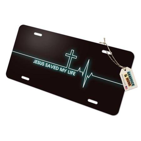 Jesus Saved My Life EKG Heart Rate Pulse Religious Christian Novelty Metal Vanity Tag License Plate - Religious Novelties