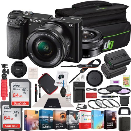 Sony Alpha a6000 Mirrorless Digital Camera 24.3MP SLR (Black) with 16-50mm Lens ILCE-6000L/B 128GB Memory Deco Gear Case Filter Kit Charger & Extra Battery Power Editing Bundle (Sony Digital Slr Camera Bundles)