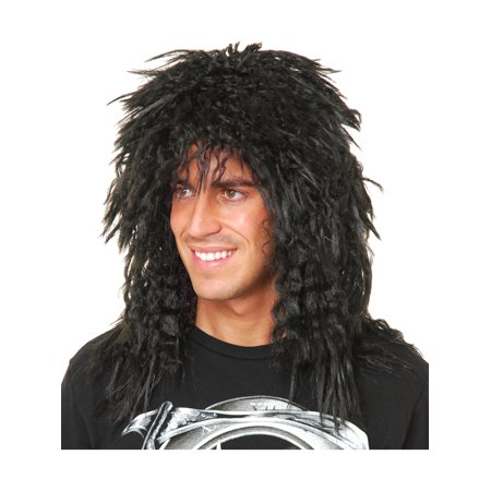 Unisex Mens or Womens Black Heavy Metal Rock Star Wig