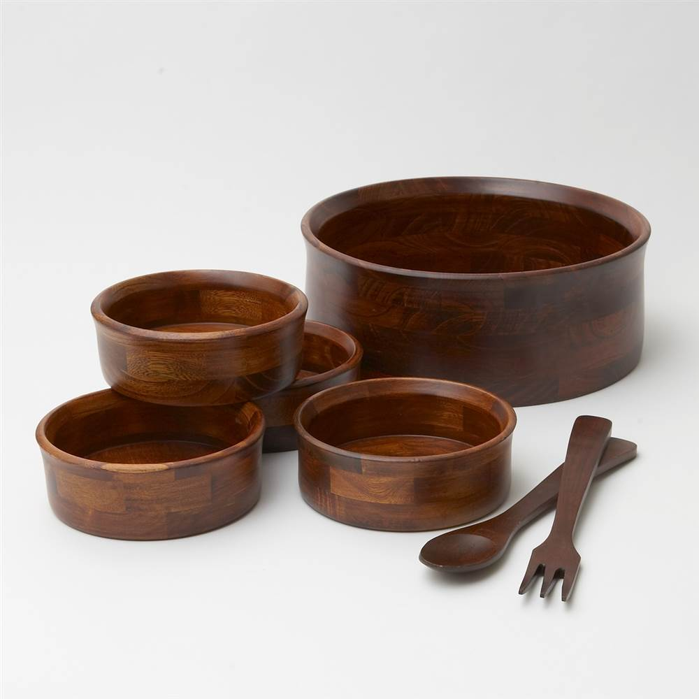 7 Pc Cherry Finish Wooden Serving & Salad Bowl Set by Woodard and Charles