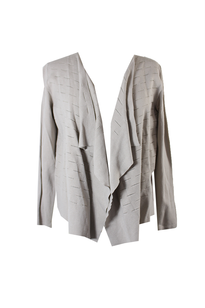Alfani Petite Beige Slit-Detail Draped Open Cardigan PM