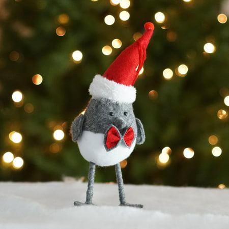 10 25 Alpine Chic Gray And White Bird Wearing Santa Hat Christmas Ornament Walmart Canada