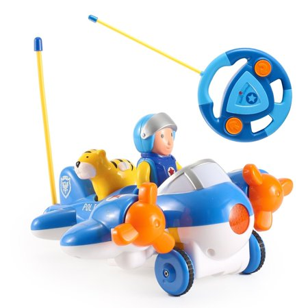 Cartoon Airplane Remote Control Plane for Toddlers (Blue) Requires 3 AA batteries, and remote requires 2 AA batteries (NOT included)