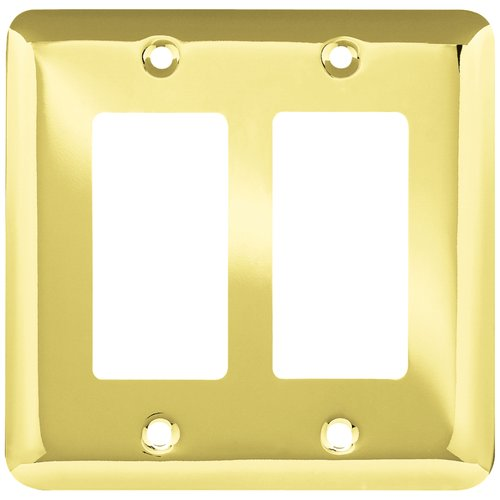 Franklin Brass Stamped Round Double Decorator Wall Plate in Flat Black