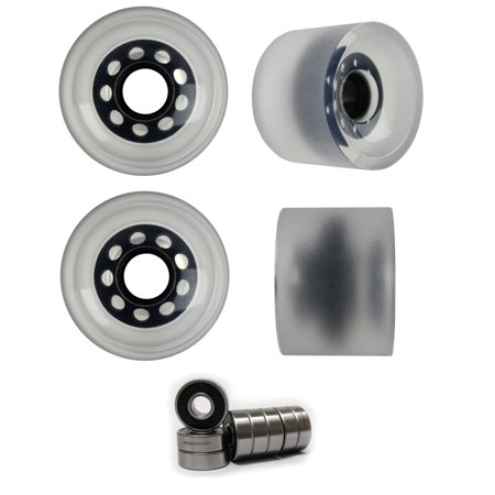 SLIDING LONGBOARD WHEELS 70mm 82A Stone Ground CLEAR WITH ABEC 7