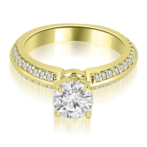 1.30 CT.TW Knife Edge Round Cut Diamond Engagement Ring in 14K White, Yellow Or Rose Gold