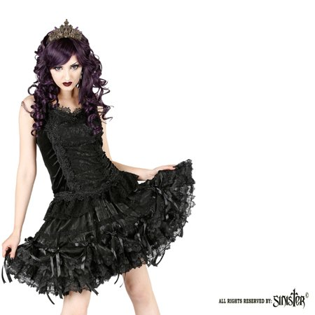 Sinister Gothic Plus Size Black Organza Chiffon Lace w Rosettes Mini Skirt