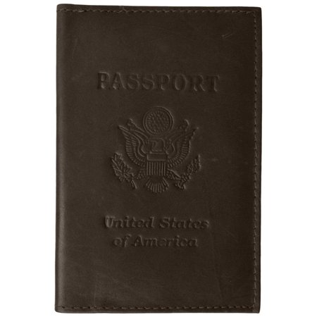 menswallet Genuine Leather USA Passport Cover, Holder and Case for International Travel 151 CF USA BLIND (C) Brown Brown Genuine Soft Leather