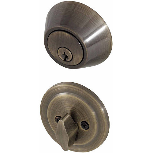 Honeywell Single Cylinder Deadbolt Door Lock, Antique Brass
