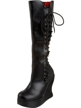 556292b68b05 Product Image 5 Inch Hot Gothic Knee Boot Black Lace Up Sexy Boot Platform  Wedge Demonia