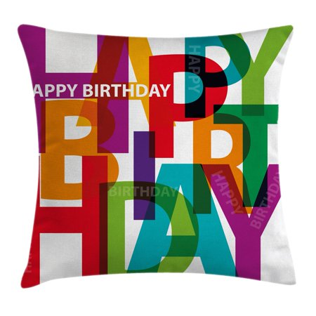 Birthday Decorations Throw Pillow Cushion Cover, Vibrant Letters Scattered Broken Text Puzzle Like Display Graphic, Decorative Square Accent Pillow Case, 24 X 24 Inches, Multicolor, by Ambesonne