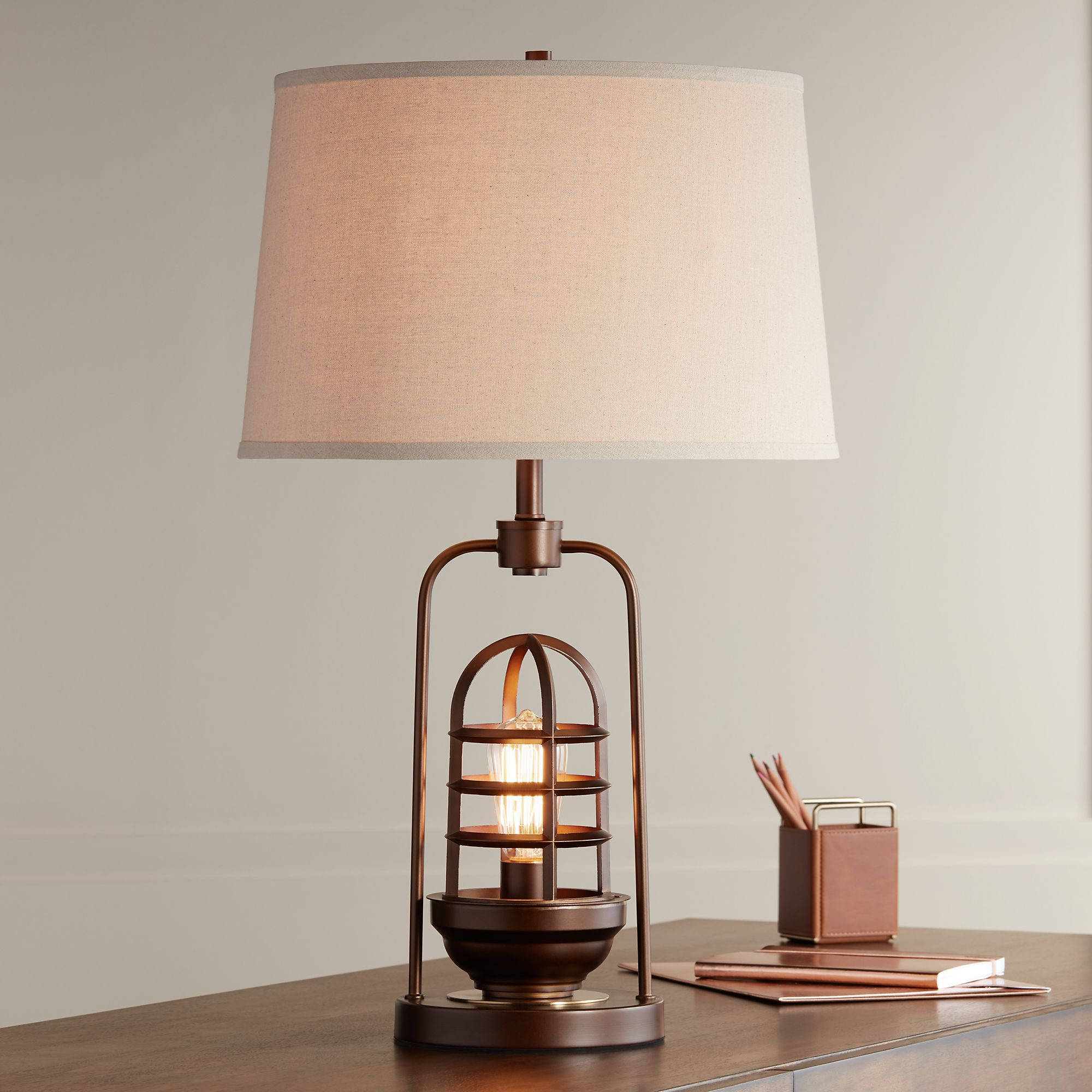Franklin Iron Works Industrial Table Lamp With Nightlight LED Edison Bulb  Rust Bronze Cage Drum Shade For Living Room Family   Walmart.com