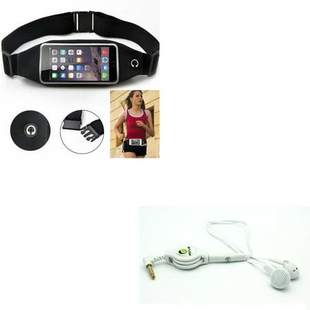 Black Sport Workout Belt Waist Bag Case w Retractable Headset Handsfree Mic R2K for BLU R1 Plus, Vivo Go, Life One X3 X2, HD, Tank Extreme Pro (T0010UU), Grand M,
