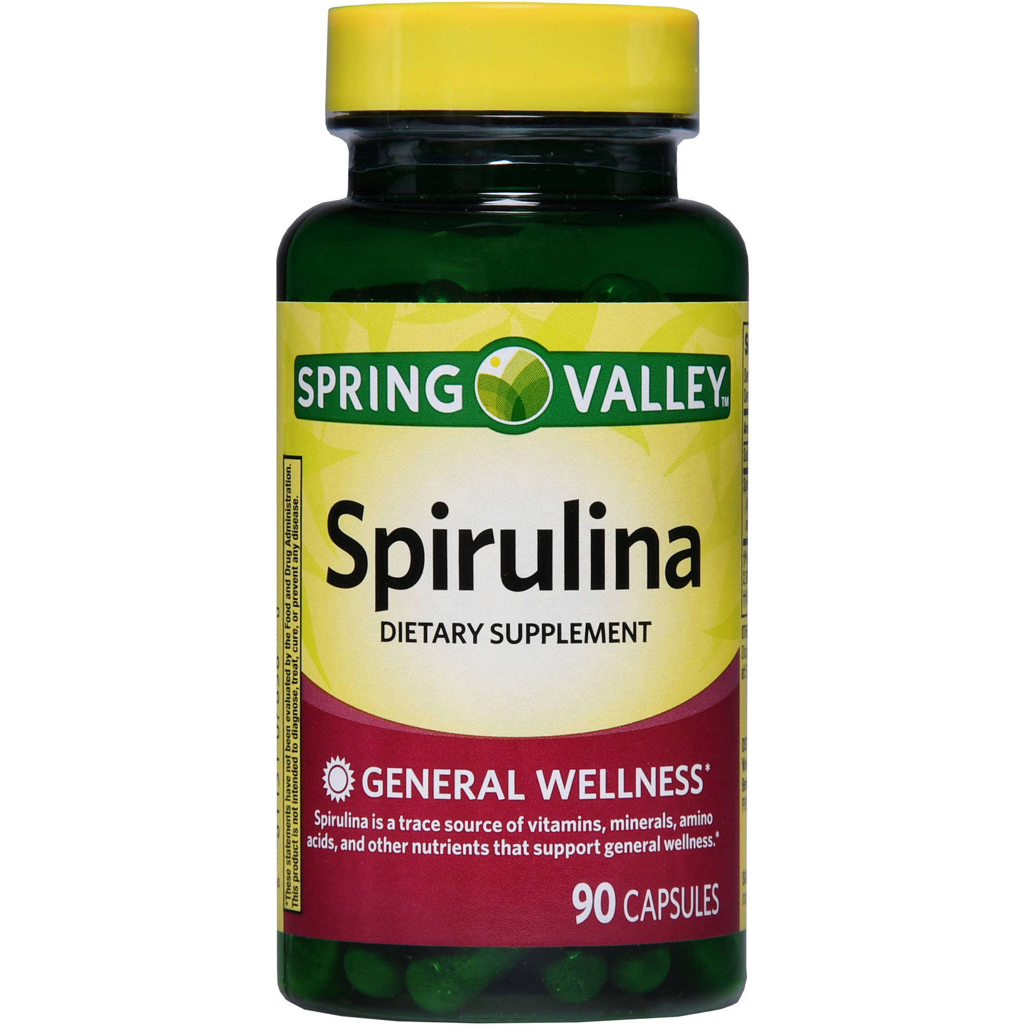 Spring Valley Spirulina Dietary Supplement Capsules, 90 count