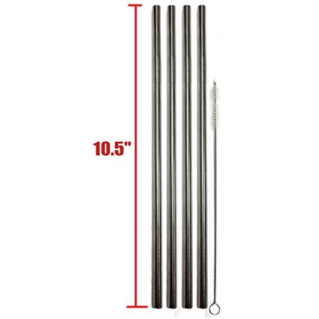 """EXTRA LONG Stainless Steel Drinking Straws 10.5"""" Length 4 Qty - Wide Straight"""