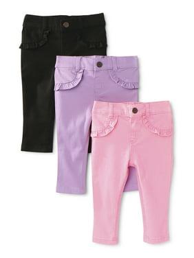 Garanimals Baby Girl Denim & Twill Pants, 3-pc Multi-Pack
