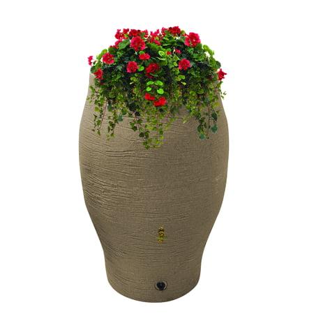 Sand Top Cigarette Urns (Rescue Stoneware Urn Barrel – Includes Planter Rain Water Diverter, Hose Bibb, 60 Gallons, Sand)