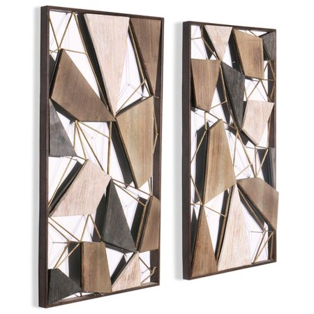 Corrigan Studio 2 Piece Geometric Wood And Metal Wall Decor Set