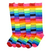 angelina 6 pairs [rainbow] knee socks w/non-skid bottom #2540_4-6_6