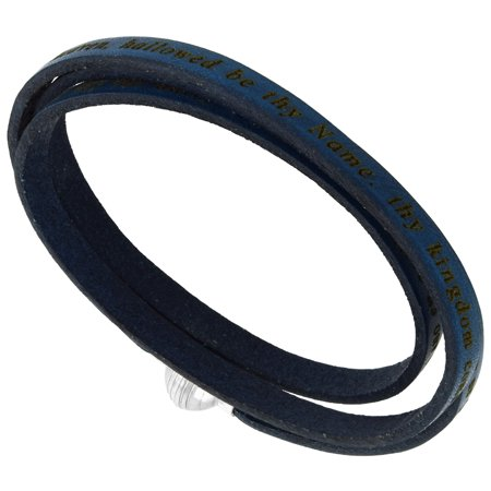 Leather Lords Prayer Bracelet Dark Blue Full Grain 3 Wrap Stainless Steel Magnetic Clasp Italy 22.5 Inch - Navy Oiled Full Grain