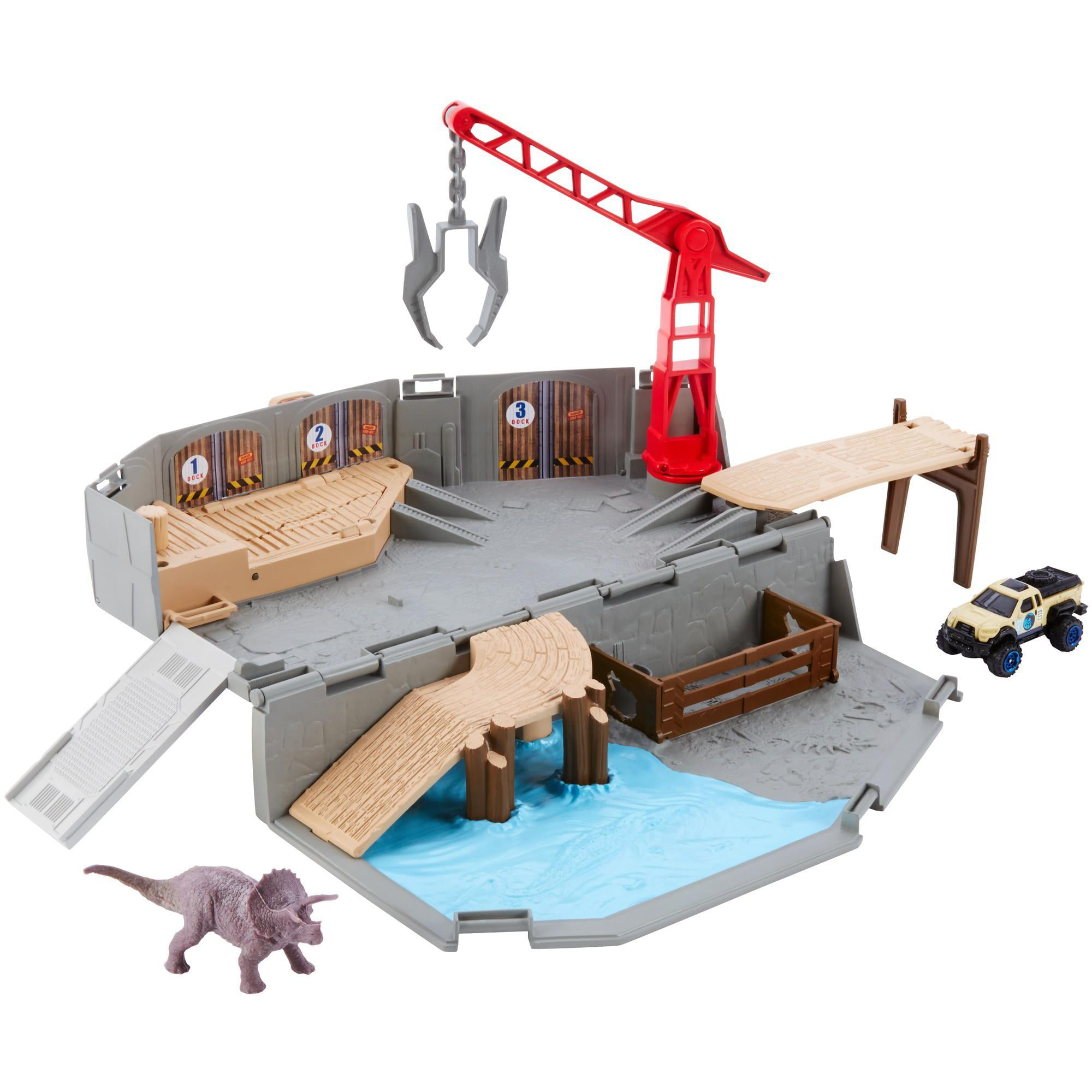 Matchbox Jurassic World Portable Harbor Rescue Playset by Mattel
