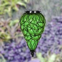 Exhart Tear Shaped Solar Green Glass Hanging Lantern, Glass Lantern, Hanging Decoration, Backyard/Outdoor/Garden