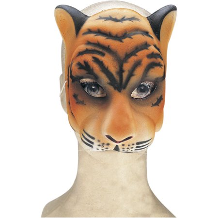 Plastic Tiger Cat Zoo Animal Mask Adult Halloween Costume Accessory - Painted Tiger Face For Halloween