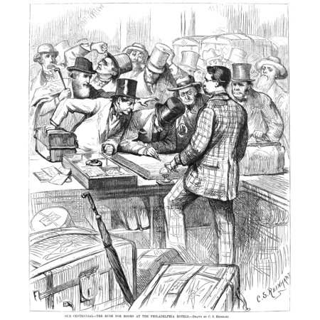 Centennial Fair 1876 Nrush Hour For Rooms At A Philadelphia Hotel During The Centennial Exhibition Of 1876 Contemporary American Wood Engraving After A Drawing By Charles Stanley Reinhart Rolled