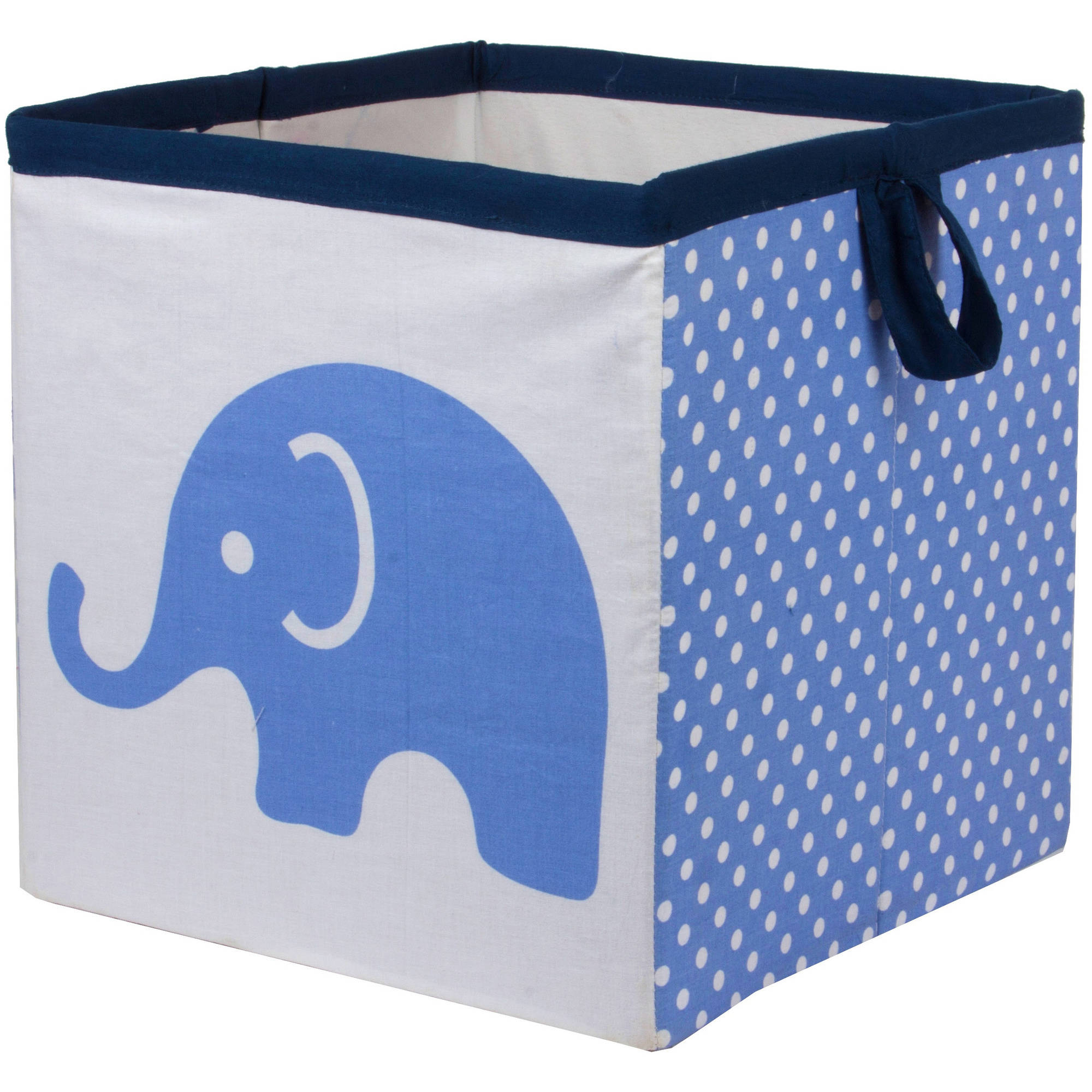 Bacati - Elephants Blue/Gray Cotton Percale Fabric covered Storage, Small Box, 10 L  x 10 W x 10 H inches