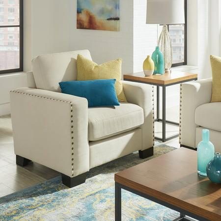 Magnificent Chelsea Lane Nailhead Trim Arm Chair White Linen Creativecarmelina Interior Chair Design Creativecarmelinacom