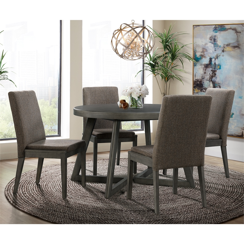 Picket House Furnishings Hudson Round 5PC Dining Set-Table & Four Chairs