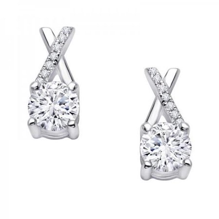 Harry Chad HC10012 2.40 CT Round Shape Diamond Lady Stud Earring, White Gold 14K - Color G - VS2 & VVS1 Clarity
