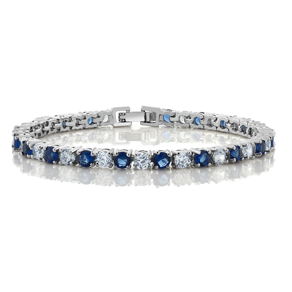 "10.00 Ct Round Cut Blue Simulated Sapphire and Zirconia Tennis Bracelet 7"" by"