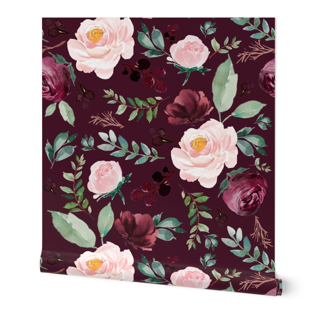 Wallpaper Roll Floral Rose Sprigs Wine Burgundy Flowers Boho Pink