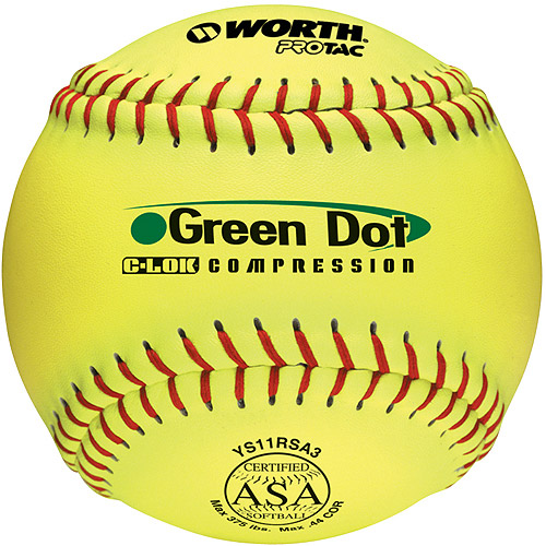 "Worth Protac Super Green Dot Offical ASA Slowpitch Softball-11"" - 1 Dozen"