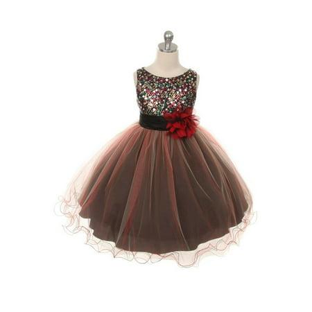 Kids Red Dresses (Kids Dream Little Girls Red Multi Sequin Tulle Dress)