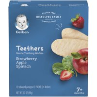 Gerber Teethers, Strawberry Apple Spinach, 1.7 oz, 12 count Box